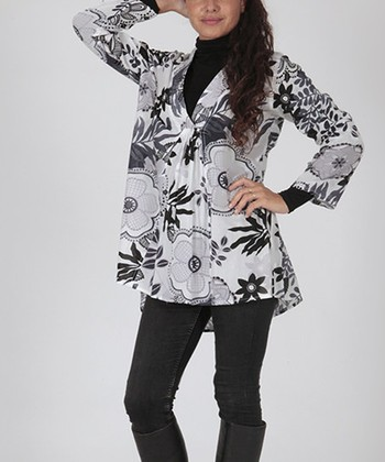 Black & White Floral Tunic