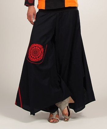 Black & Red Embroidered Flower Palazzo Pants