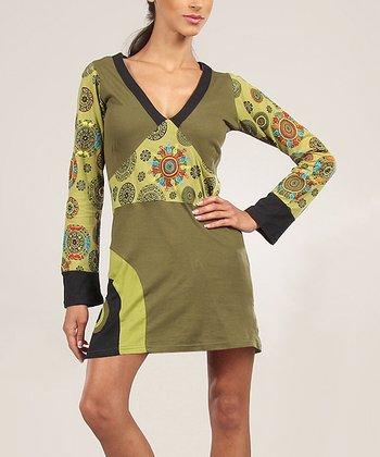 Green & Black V-Neck Shift Dress