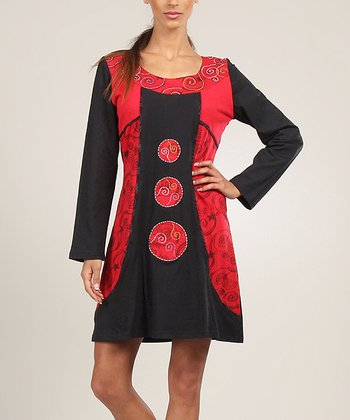 Black & Red Embroidered Panel Shift Dress