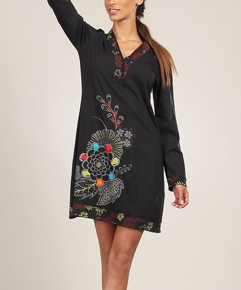Black & Olive Embroidered Shift Dress