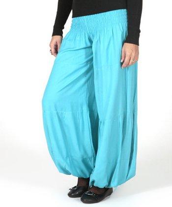 Turquoise Shirred Harem Pants