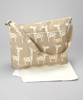 Taupe Giraffe Diaper Bag