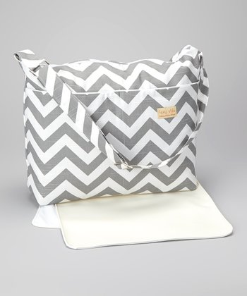 Gray Zigzag Diaper Bag