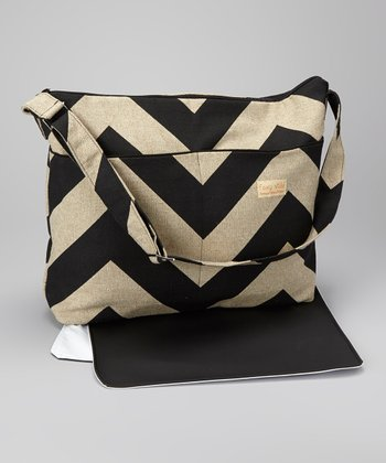 Black Denton Zigzag Diaper Bag & Changing Pad