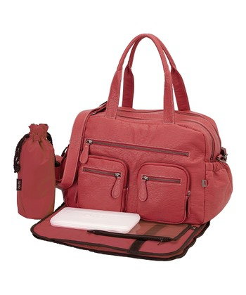 Pink Faux Buffalo Diaper Bag