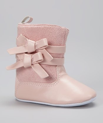 Laura Ashley Pink Double-Bow Crib Boot