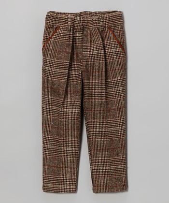 Brown Plaid Wool-Blend Pants - Toddler & Boys