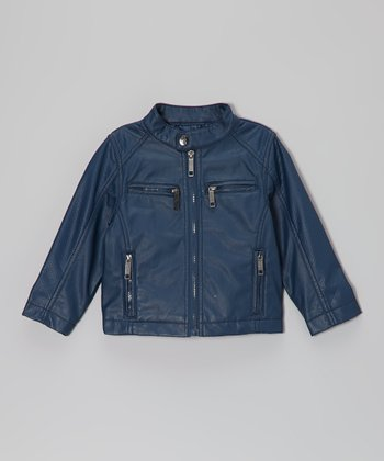 Blue Faux Leather Zip-Up Jacket - Toddler & Boys