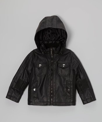 Black Faux Leather Hooded Jacket - Toddler & Boys