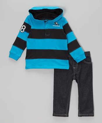 Blue & Black Stripe Hooded Tee & Dark Wash Jeans - Infant