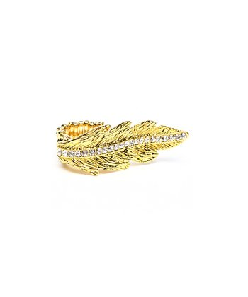 Gold Crystal Leaf Ring