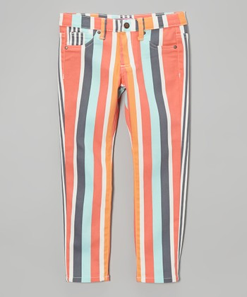 Orange & Blue Stripe Pants - Toddler & Girls