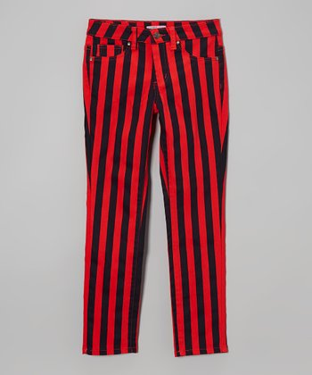 Red & Navy Stripe Pants - Girls