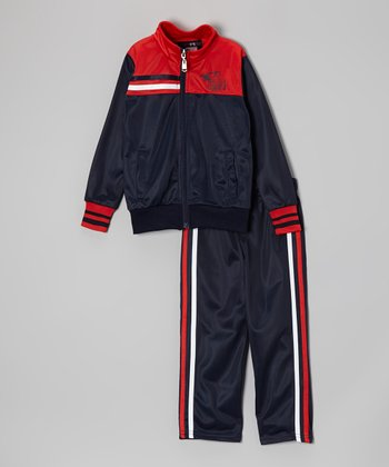 Navy & Red 'Eagles' Track Jacket & Pants - Toddler & Boys