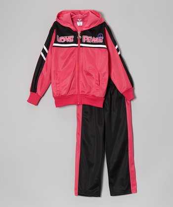 Hot Pink & Black 'Love Peace' Track Jacket & Pants - Toddler & Girls