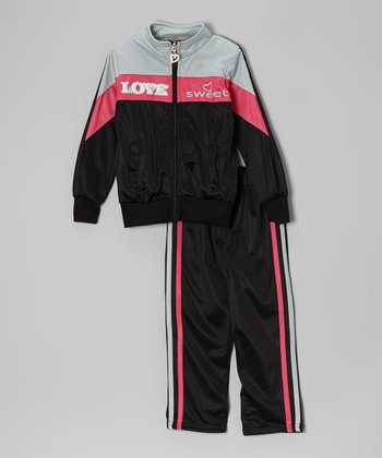 Black & Pink 'Love Sweet' Track Jacket & Pants - Toddler & Girls