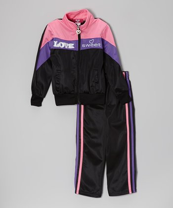 Pink & Black 'Love Sweet' Track Jacket & Pants - Toddler & Girls