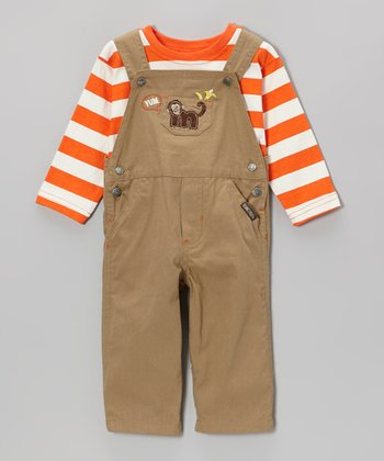 Orange Stripe Tee & Dark Beige Monkey Overalls - Infant