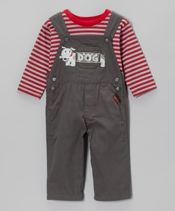 Red Stripe Tee & Gray 'Dog' Overalls - Infant