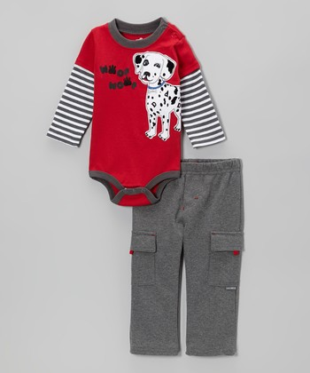 Red Dalmatian Layered Bodysuit & Gray Cargo Pants - Infant