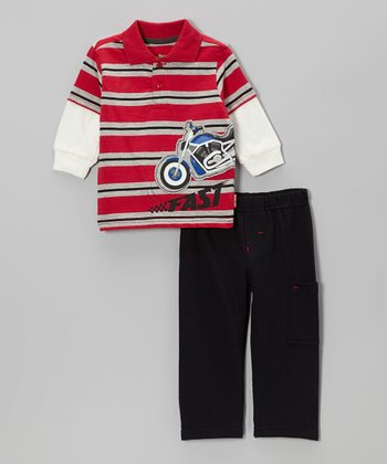 Red Motorcycle Stripe Layered Polo & Cargo Pants - Infant