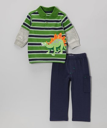 Green Dinosaur Stripe Layered Polo & Cargo Pants - Infant