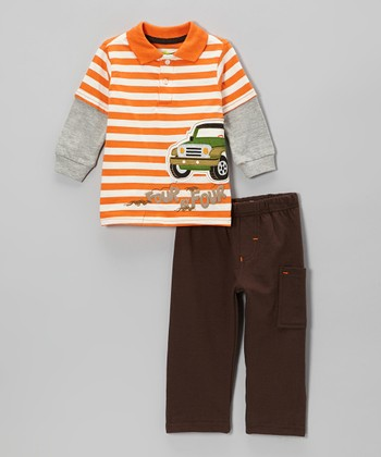 Orange Truck Stripe Layered Polo & Gray Cargo Pants - Infant