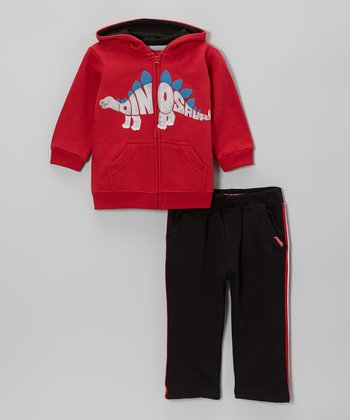 Red 'Dinosaur' Zip-Up Hoodie & Black Pants - Infant