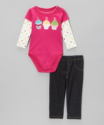 Dark Pink Cupcake Layered Bodysuit & Denim Pants - Infant