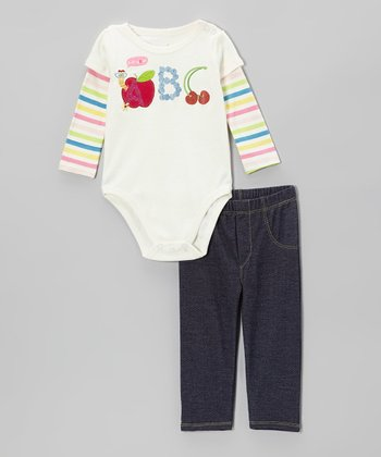 Light Beige 'ABC' Layered Bodysuit & Denim Pants - Infant