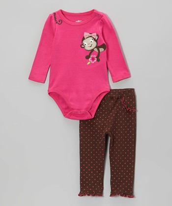 Pink Monkey Bodysuit & Brown Polka Dot Leggings - Infant