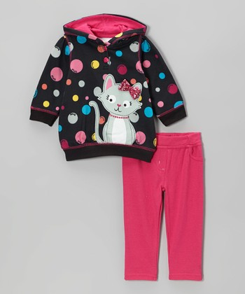 Pink Polka Dot Kitty Hooded Pullover & Pants - Infant & Toddler