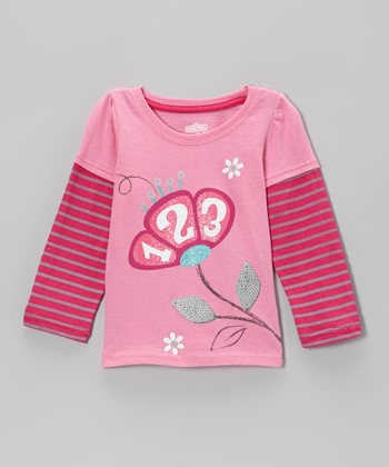Pink '123' Flower Layered Top - Infant & Toddler