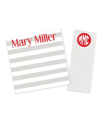 Gray & Red Personalized Notepad Set