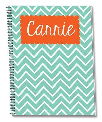 Mint & Orange Personalized Spiral Notepad