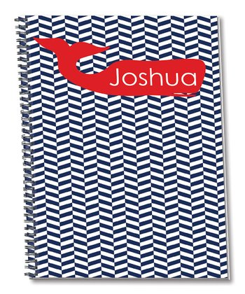 Blue & Red Whale Personalized Spiral Notepad