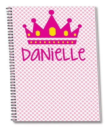 Pink Crown Personalized Spiral Notepad