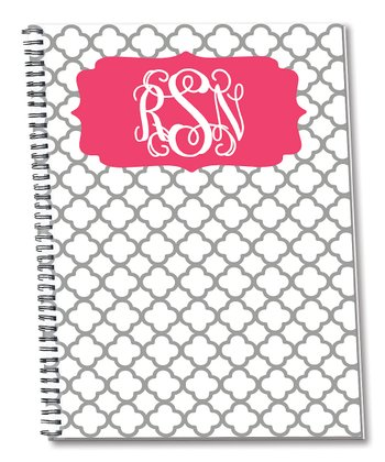 Gray & Pink Monogram Spiral Notepad