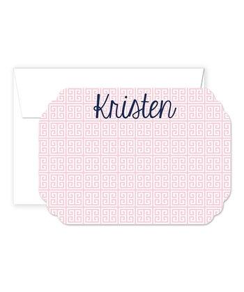 Pink & Navy Personalized  Card & Envelope Set