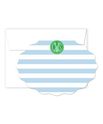 Blue & Green Monogram Card & Envelope Set