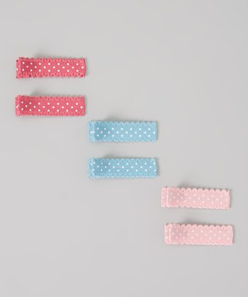 Light Pink, Blue & Red Polka Dot Clip Set