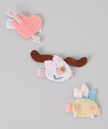 Pink Heart Clip Set