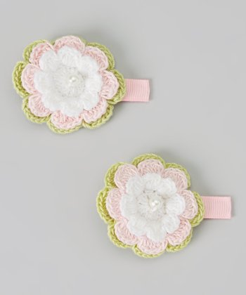 Light Pink Flower Clip Set