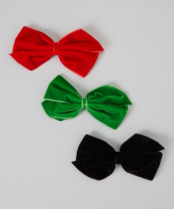 Red, Green & Black Bow Velvet Clip Set