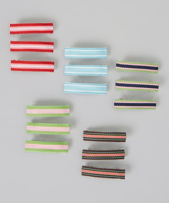 Lime Green Stripe Clip Set