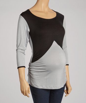 Black & Gray Maternity Three-Quarter Sleeve Top