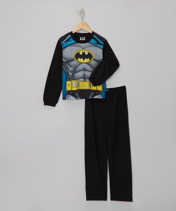 Gray Batman Muscular Caped Pajama Set - Toddler & Boys