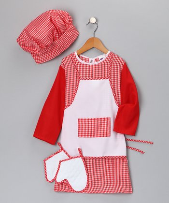 Red Gingham Chef Dress-Up Set - Toddler & Kids