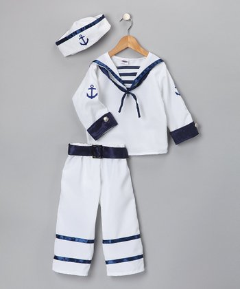 White & Blue Deluxe Sailor Dress-Up Set - Kids
